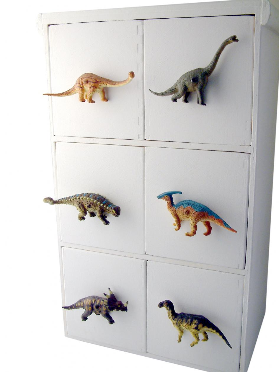Safari bathroom decor - Dinosaur Drawer Knob Orange Diplodocus