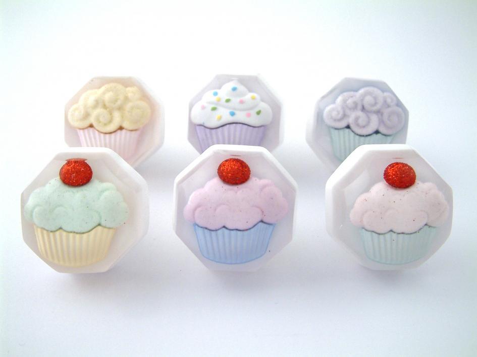 Set Of Six Cupcake Cupboard Knobs