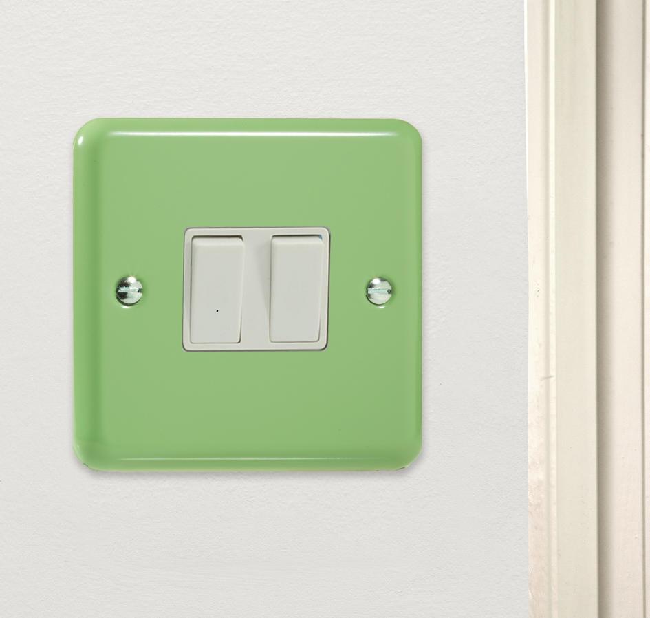 *SALE   3 ONLY* Varilight Retro Rainbow Range Pastel Beryl Green Kitchen  Double Rocker Light Switch ...