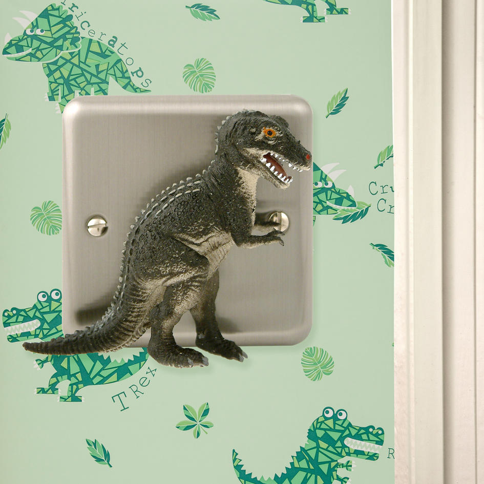 Dinosaur Bedroom Decor Brushed Chrome T Rex Dimmer Light Switch For Themed Bedrooms
