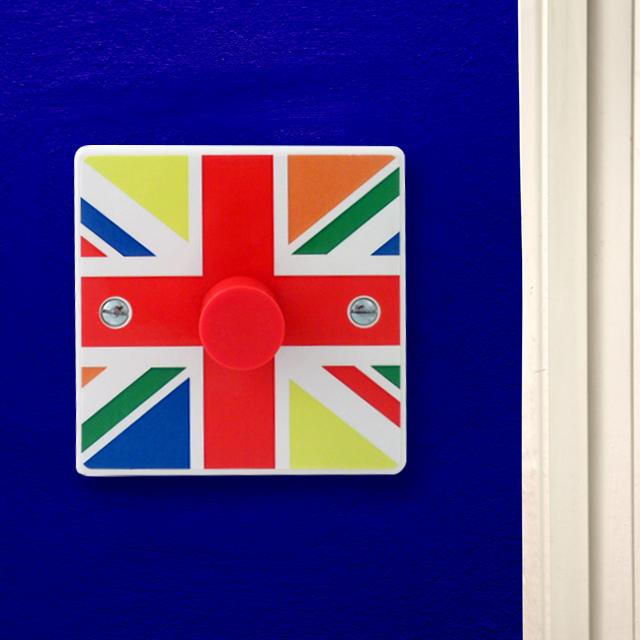 Multi Coloured British Flag Union Jack Light Switch or Dimmer Switch