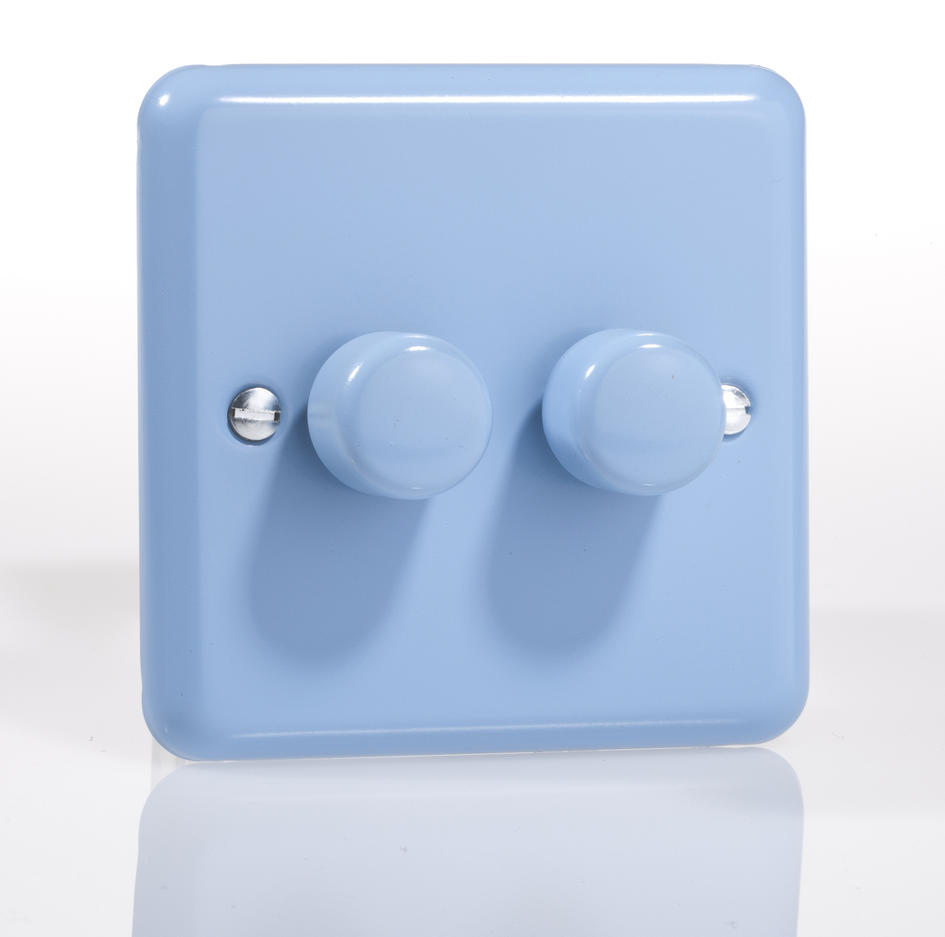 Sale 1 Only Retro Pastel Duck Egg Blue Double Led Dimmer Switch 2 Way For Varilight V Pro Series Or