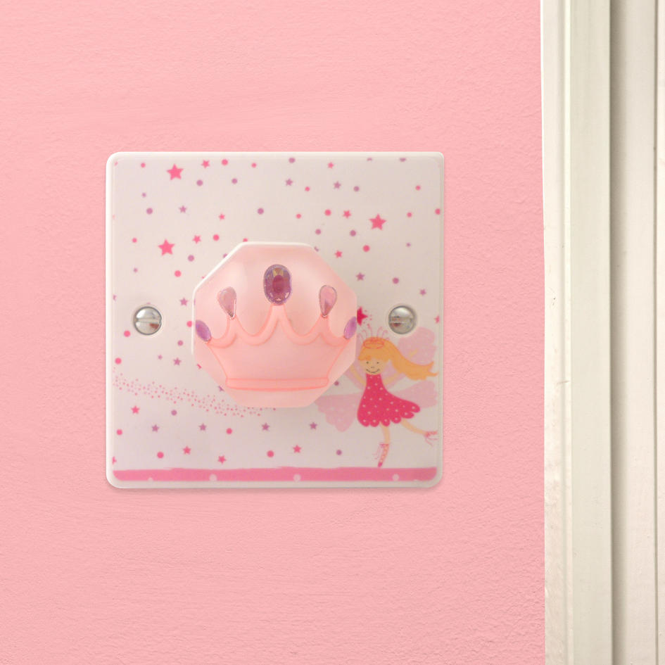 Pink Fairy Princess Crown Light Switch Or Dimmer Switch