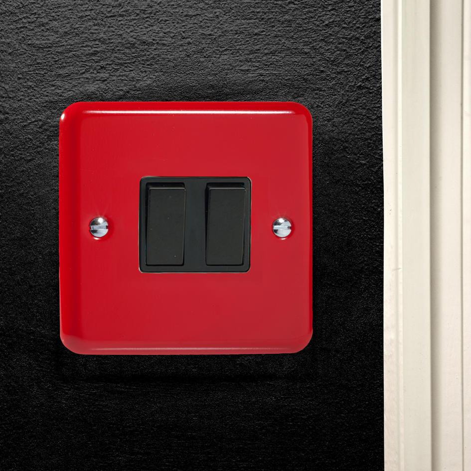 designer pillar box red rocker light switch 2 gang 10a 2 way cq xy2b pr. Black Bedroom Furniture Sets. Home Design Ideas