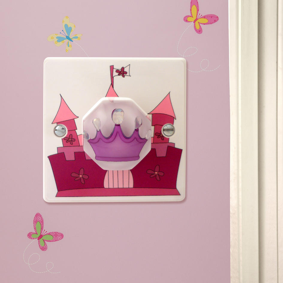 Pink Fairy Castle With Purple Princess Crown Decorative Girls Light Varilight Wiring Instructions Switch Or Dimmer British Made