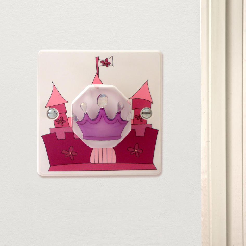 fairy castle with purple princess crown decorative girls light