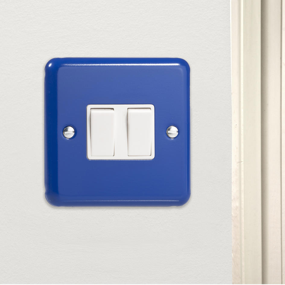 *SALE - 5 ONLY** Reflex Blue Rocker Light Switch 2 Gang 10A 2 Way CQ XY2W.RB Made in the UK