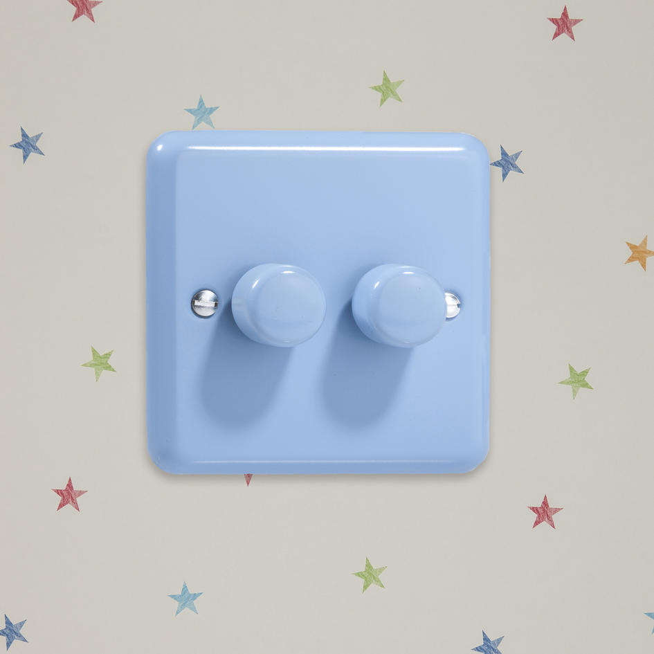 Sale 1 Only Retro Pastel Duck Egg Blue Double Led Dimmer Switch 2 Way Varilight V Pro Series Or