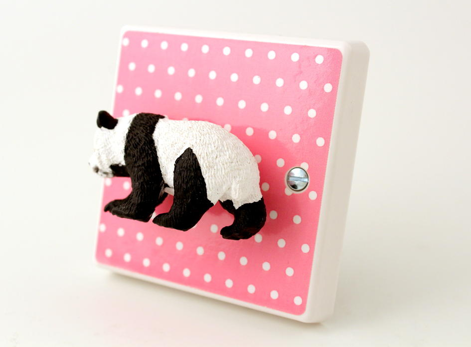Animal Nursery Decor Pink Polka Dot Panda Light Switch For