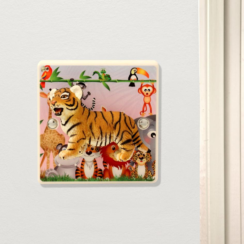 Decorative Light Switch For Children's Safari Themed Nursery with Cute Tiger Cub
