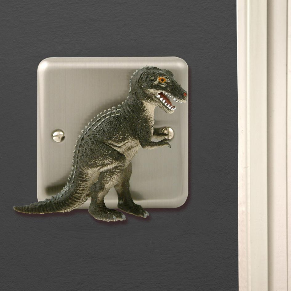 Dinosaur Bedroom Decor Brushed Chrome T Rex Dimmer Light Switch for Themed  bedrooms
