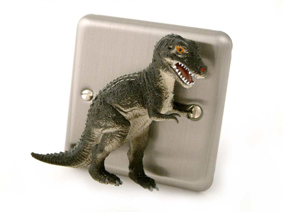 Dinosaur bedroom decor brushed chrome t rex dimmer light for T rex bedroom decor
