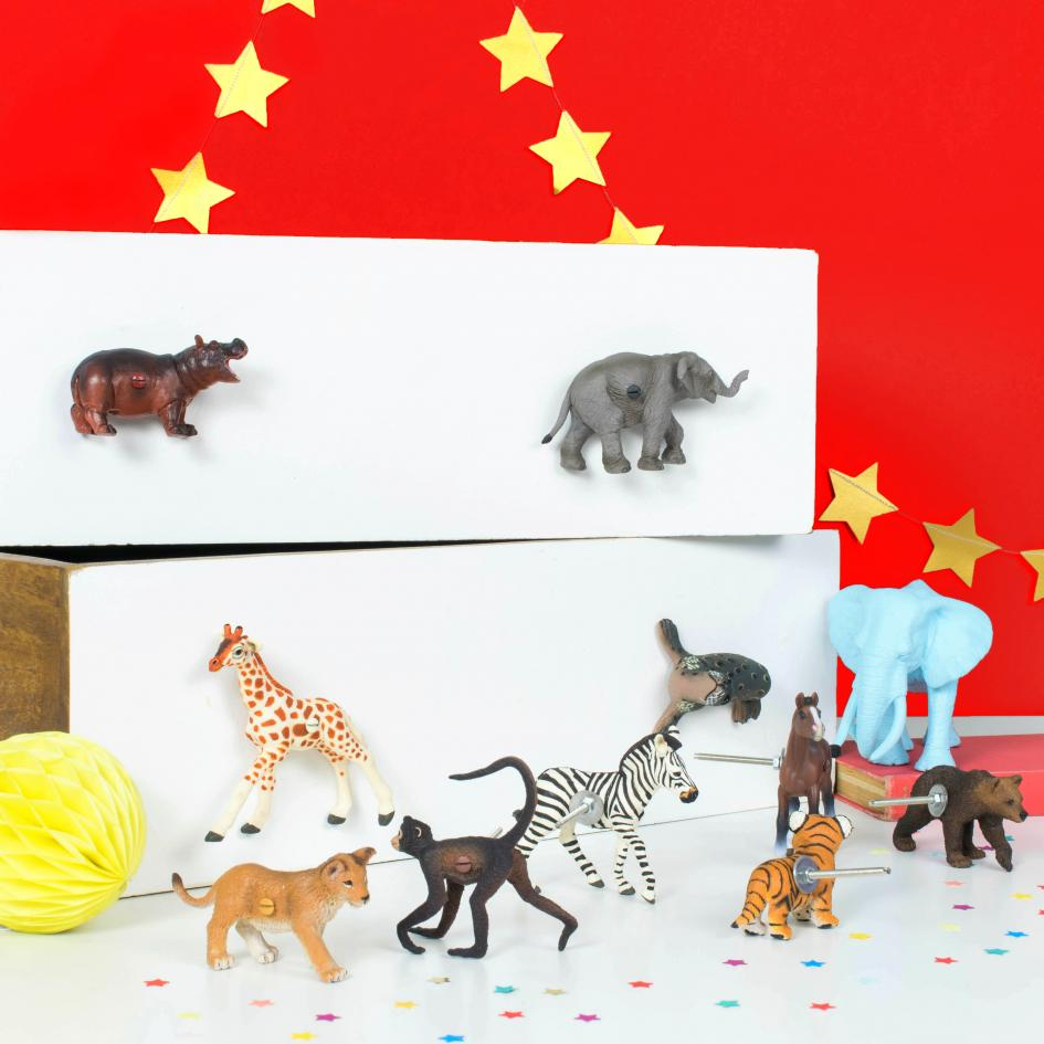 Circus Animal Cupboard and Drawer Knobs - Set of Ten Circus Animals