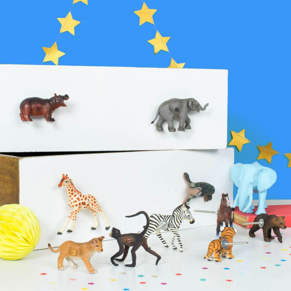 Circus Themed Bedroom Cupboard Knobs - Set of Eight Circus Animal Drawer Knobs
