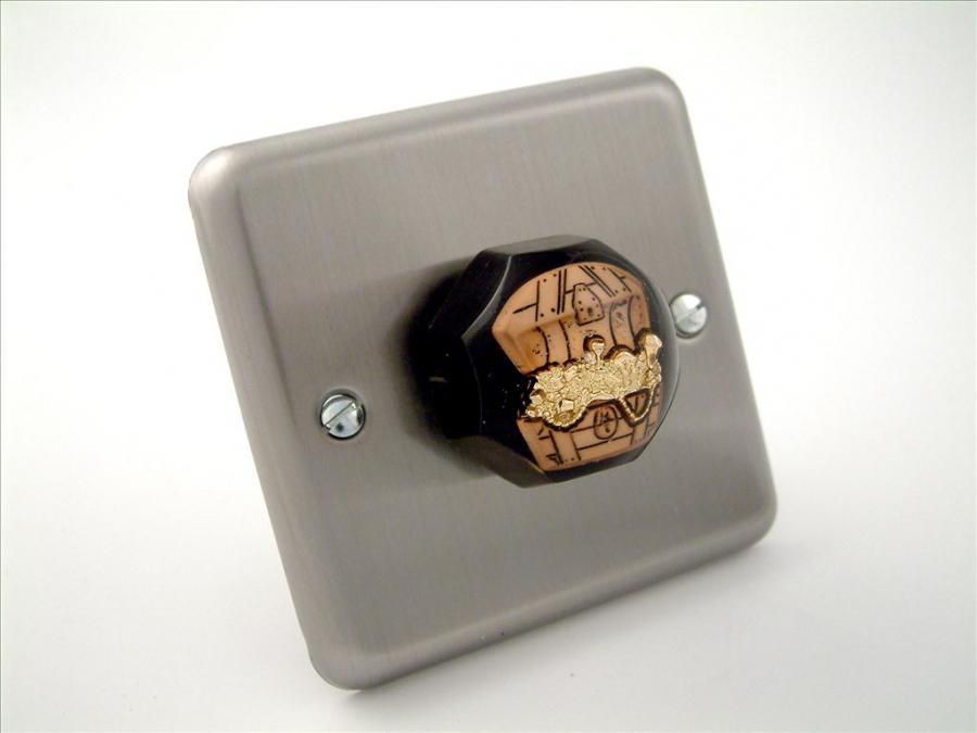 designer brushed chrome pirate treasure light switch or dimmer. Black Bedroom Furniture Sets. Home Design Ideas