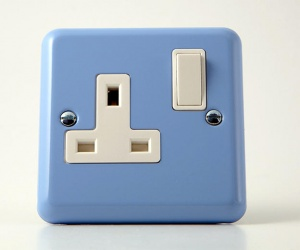 Classic Lily Duck Egg Blue, 13 Amp Switched Socket, Made By Varilight 1 Gang (Single), CQ XY4W.DB, Pastel Blue Plug Socket