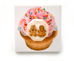 Pink Cupcake With Cute Gingerbread Men Light Switch British Made & Handmade