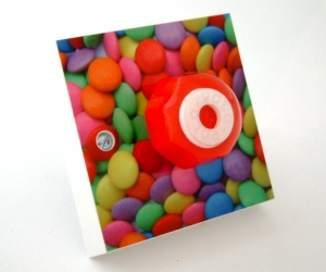 Candy Inspired Light Switch With Red Mint British Made & Handmade