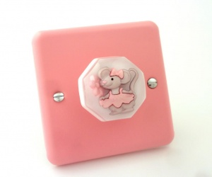 Matilda The Dancing Mouse Rose Pink Lily Metal Light Switch Made in the UK