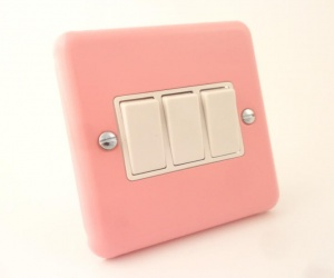*SALE* - 3 ONLY - Varilight Lily Range Rose Pink Triple Light Switch 3 Gang CQ XY3W.RP