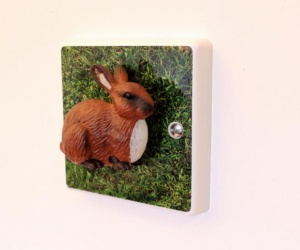 Decorative Brown Bunny Rabbit Light Switch for Children´s Themed Bedrooms
