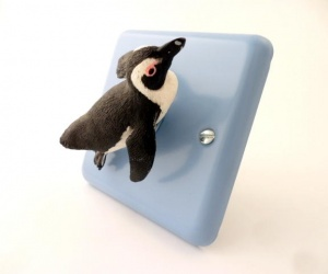Decorative Light Switch With South African Diving Penguin on Metal Duck Egg Blue Face plate