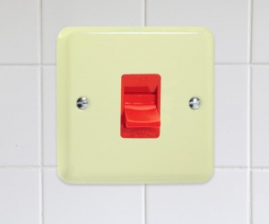 XY45SW.WC CQ Single Plate Lily White Chocolate Cream Cooker Switch, Red Switch 45 Amp Varilight Lily Retro Range