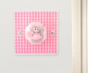 Matilda The Dancing Mouse Pink Gingham Nursery Dimmer Light Switch for Low Level Lighting for Babies British Made & Handmade