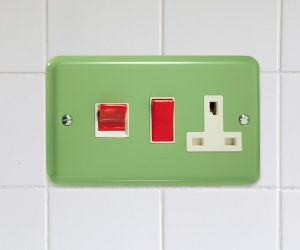 XY45PW.BG Beryl Green Cooker Switch, Red 45 Amp Panel, Double Horizontal Plate, Varilight Lily Retro Range Beryl Green CQ XY45PW.BG