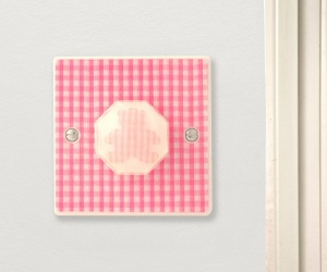 *SALE* - Pink Gingham Teddy Bear Light Switch British Made & Handmade