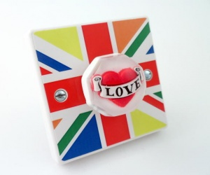 Multi Colour Union Jack Love Light Switch or Dimmer Switch (Varilight)