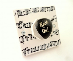 Decorative Light Switch for Music Room With Rock On Guitar Plectrum