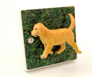 *SALE* -Children´s Decorative Bedroom Light Switch with Golden Retriever Puppy Dog