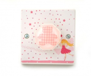 Pink Nursery Dimmer Light Switch with Gingham Teddy Bear & Fairy for Baby Girls Bedrooms & Nurseries British Made