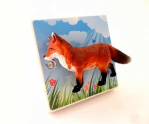 Decorative Light Switch with a cute Fox in a Summer Meadow