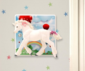 Decorative Light Switch with Unicorn and Hot air Balloons for Girls or Boys Bedrooms or the Nursery British Made