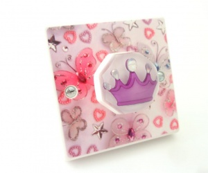 Girls Butterfly & Purple Princess Crown Decorative Bedroom Light Switch Handmade in the UK