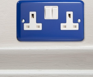 Designer Royal Blue British Made Double Plug Switch Socket CQ XY5W.RB Perfect For a Boys Football Bedroom