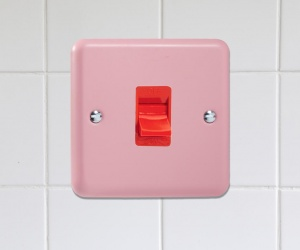 XY45SW.RP CQ Single Plate Retro Rose Pink Cooker Switch, Red Switch 45 Amp Varilight Lily Range for a Retro Pink Kitchen