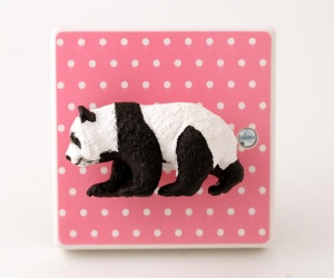 Animal Nursery Decor Pink Polka Dot Panda Light Switch for a New Nursery or Bedroom