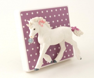 Lilac Polka Dot Light Switch with Unicorn for Girls or Boys Bedrooms or the Nursery British Made