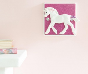 Glittery Pink Light Switch with Unicorn for Pink Bedrooms or the Nursery, British Made Dimmer Switch with Sparkly Switch Plate