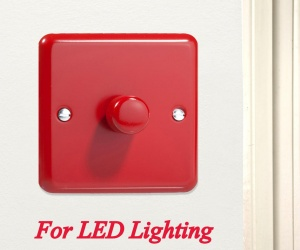 Decorative LED Dimmer Switch Made in the UK JYP401.PR Varilight V-Pro Dimmer 1 Gang, 1 or 2 Way 1 -10 LED´s Dimmer Switch in Pillar Box Red
