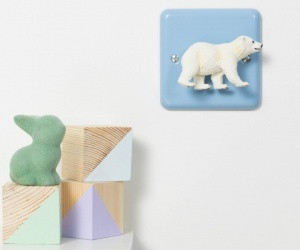 Pastel Blue Polar Bear Nursery Dimmer Switch