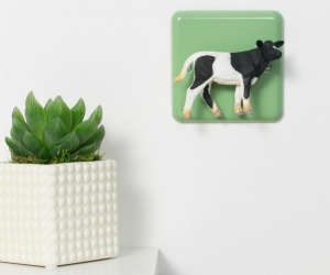 Retro Pastel Green Metal Light Switch with Black and White Cow