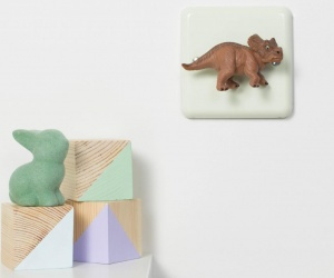 Pastel Cream Triceratops Dinosaur Nursery Dimmer Switch