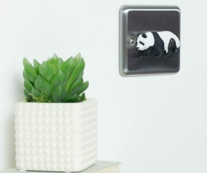 Chrome Light Switch with Panda Cub for Grey and White Themed Bedroom
