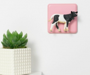 Pastel Pink Nursery Dimmer Light Switch with Black and White Cow