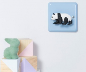 Varilight Pastel Duck Egg Blue Retro Dimmer Light Switch with Black and White Panda