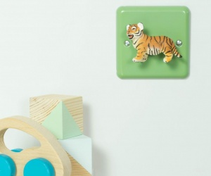 Retro Metal Pastel Green Light Switch with Cute Tiger Cub